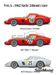 Model Factory Hiro: Model car kit 1/12 scale - Ferrari 250 GTO #19, 22, 23 - Jean Guichet (FR) + Pierre Noblet (BE), Léon 'Eldé' Dernier (BE) + Jean 'Beurlys' Blaton (BE), Fernand Tavano (FR) + André Simon (FR) - 24 Hours Le Mans 1962 - multimaterial kit