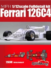 Model Factory Hiro: Model car kit 1/12 scale - Ferrari 126C4M Fiat Agip #27, 28 - Michele Alboreto (IT), Rene Arnoux (FR) - British Grand Prix 1984 - multimaterial kit