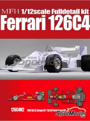 Model Factory Hiro: Model car kit 1/12 scale - Ferrari 126C4M2 Fiat Agip #27, 28 - Michele Alboreto (IT), Rene Arnoux (FR) - European Grand Prix, Portuguese Grand Prix 1984 - multimaterial kit image