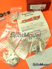 Model Factory Hiro: Model car kit 1/43 scale - Alfa Romeo Tipo 33/3 Short Tail Shell Bosch #28, 14, 41, 38 - Rolf Stommelen (DE) + Nanni Galli (IT), Piers Courage (GB) + Andrea de Adamich (IT), Toine Hezemans (NL) + Masten Gregory (US) - 1000 Kms Monza, Targa Florio 1970 - multimaterial kit