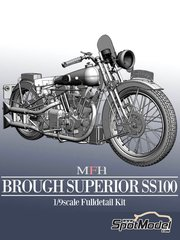 Model Factory Hiro: Model bike kit 1/9 scale - Brough Superior SS100 - metal parts, photo-etched parts, resin parts, rubber parts, water slide decals, white metal parts and assembly instructions