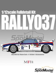 Model Factory Hiro: Model car kit 1/12 scale - Lancia 037 Rally Martini #1 - Walter Röhrl (DE) + Christian Geistdörfer (DE) - Montecarlo Rally 1983 - multimaterial kit