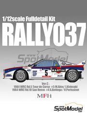 Model Factory Hiro: Model car kit 1/12 scale - Lancia 037 Rally Martini #4, 5 - Markku Alén (FI) + Ilkka Kivimäki (FI), Attilio Bettega (IT) + Maurizio Perissinot (IT) - Sanremo Rally, Tour de Corse 1984 - multimaterial kit