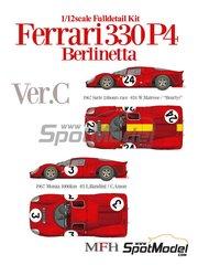 Model Factory Hiro: Maqueta de coche escala 1/12 - Ferrari 330P4 Berlinetta Nº 3, 24 - Willy Mairesse (BE) + Jean 'Beurlys' Blaton (BE), Lorenzo Bandini (IT) + Chris Amon (NZ) - 1000 kilómetros de Monza, 24 Horas de Le Mans 1967 - kit multimaterial