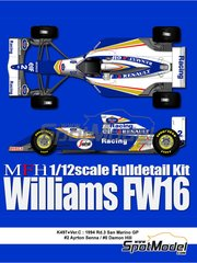 Model Factory Hiro: Model car kit 1/12 scale - Williams Renault FW16 Rothmans #0, 2 - Damon Hill (GB), Ayrton Senna (BR) - San Marino Formula 1 Grand Prix 1994 - multimaterial kit