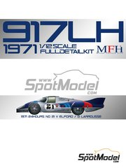 Model Factory Hiro: Model car kit 1/12 scale - Porsche 917 LH #21 - Vic Elford (GB) + Gérard Larrousse (FR) - 24 Hours Le Mans 1971 - multimaterial kit