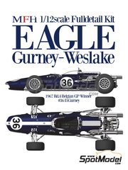 Model Factory Hiro: Model car kit 1/12 scale - Eagle Gurney Weslake T1G #15, 36 - Dan Gurney (US) - Belgian Grand Prix, Dutch Grand Prix 1967 - multimaterial kit image