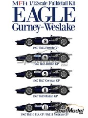 Model Factory Hiro: Model car kit 1/12 scale - Eagle Gurney Weslake T1G #8, 9, 11 - Dan Gurney (US) - German Grand Prix, French Grand Prix, British Grand Prix, Italian Grand Prix, Mexican Grand Prix, USA Grand Prix 1967 - multimaterial kit