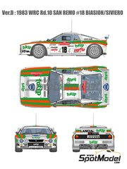 Model Factory Hiro: Model car kit 1/12 scale - Lancia Rally 037 Jolly Club Totip #18 - Massimo 'Miki' Biasion (IT) + Tiziano Siviero (IT) - Sanremo Rally 1983 image