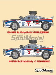 Model Factory Hiro: Model car kit 1/12 scale - Lancia Rally 037 Martini Racing #3, 7 - Markku Alén (FI) + Ilkka Kivimäki (FI) - Safari Rally 1984, 1986