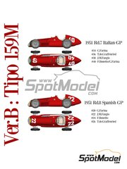Model Factory Hiro: Model car kit 1/12 scale - Alfa Romeo 159 Alfetta - Giuseppe Farina (IT), Baron Emmanuel 'Toulo' de Graffenried (CH), Juan Manuel Fangio (AR), Felice Bonetto (IT) - Spanish Grand Prix, Italian Grand Prix 1951 - multimaterial kit image