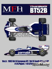 Model Factory Hiro: Model car kit 1/12 scale - Brabham BMW BT52B Parmalat #5, 6 - Nelson Piquet (BR), Riccardo Patrese (IT) - European Grand Prix, South African Grand Prix 1983 - multimaterial kit