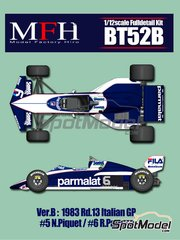 Model Factory Hiro: Model car kit 1/12 scale - Brabham BMW BT52B Parmalat #5, 6 - Nelson Piquet (BR), Riccardo Patrese (IT) - Italian Grand Prix 1983 - multimaterial kit image