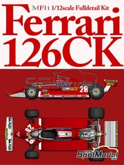 Model Factory Hiro: Model car kit 1/12 scale - Ferrari 126CK #27, 28 - Didier Pironi (FR), Gilles Villeneuve (CA) - Dutch Formula 1 Grand Prix 1981 - CNC metal parts, assembly instructions, metal parts, photo-etched parts, resin parts, rubber parts, seatbelt fabric, turned metal parts, vacuum formed parts, water slide decals, white metal parts and other materials image