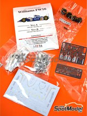 Model Factory Hiro: Model car kit 1/43 scale - Williams Renault FW16 Rothmans #0, 2 - Ayrton Senna (BR), Damon Hill (GB) - San Marino Formula 1 Grand Prix 1994 - metal parts, photo-etched parts, rubber parts, turned metal parts, water slide decals, white metal parts and assembly instructions image