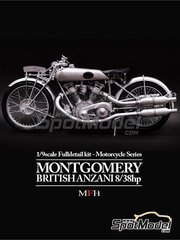 Model Factory Hiro: Model bike kit 1/9 scale - Montgomery British Anzani 8/38hp 1920 - metal parts, photo-etched parts, rubber parts, turned metal parts, water slide decals, white metal parts, other materials and assembly instructions