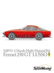 Model Factory Hiro: Model car kit 1/24 scale - Ferrari 250 GT Lusso - metal parts, photo-etched parts, resin parts, rubber parts, seatbelt fabric, turned metal parts, vacuum formed parts, water slide decals, white metal parts, other materials and assembly instructions image