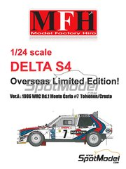 Model Factory Hiro: Model car kit 1/24 scale - Lancia Delta S4 Martini #7 - Henri Toivonen (FI) + Sergio Cresto (US) - Montecarlo Rally 1986 - photo-etched parts, resin parts, rubber parts, turned metal parts, vacuum formed parts, water slide decals, white metal parts and assembly instructions