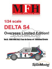 Model Factory Hiro: Model car kit 1/24 scale - Lancia Delta S4 Martini #4 - Henri Toivonen (FI) + Sergio Cresto (US) - Tour de Corse 1986 - full colour photo-etched parts, photo-etched parts, resin parts, rubber parts, seatbelt fabric, turned metal parts, vacuum formed parts, water slide decals, white metal parts and assembly instructions