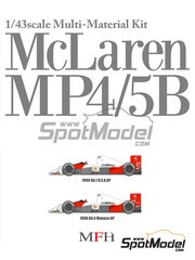 Model Factory Hiro: Model car kit 1/43 scale - McLaren Honda MP4/5B Marlboro #27, 28 - Ayrton Senna (BR), Gerhard Berger (AT) - Monaco Grand Prix, USA Grand Prix 1990 - metal parts, photoetched parts, rubber parts, turned metal parts, vacuum formed parts, water slide decals, white metal parts and assembly instructions image