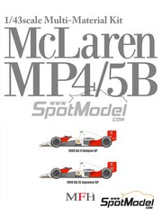 Model Factory Hiro: Model car kit 1/43 scale - McLaren Honda MP4/5B Marlboro #27, 28 - Ayrton Senna (BR), Gerhard Berger (AT) - Belgian Grand Prix, Japan Grand Prix 1990 - metal parts, photo-etched parts, rubber parts, turned metal parts, vacuum formed parts, water slide decals, white metal parts, assembly instructions and painting instructions image