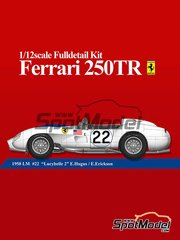 Model Factory Hiro: Model car kit 1/12 scale - Ferrari 250TR #22 - Ed Hugus (US) + Ray Erickson (US) - 24 Hours Le Mans 1958 - CNC metal parts, metal parts, photo-etched parts, resin parts, rubber parts, turned metal parts, vacuum formed parts, water slide decals, white metal parts and assembly instructions image