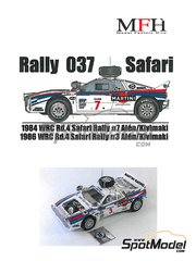 Model Factory Hiro: Model car kit 1/24 scale - Lancia Rally 037 Martini #7 - Markku Alén (FI) + Ilkka Kivimäki (FI) - Safari Rally 1984, 1986 - photo-etched parts, resin parts, rubber parts, seatbelt fabric, turned metal parts, vacuum formed parts, water slide decals, white metal parts, other materials and assembly instructions