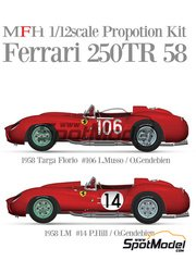 Model Factory Hiro: Model car kit 1/12 scale - Ferrari 250TR 58 #14, 106 - Phil Hill (US) + Luigi Musso (IT), Olivier Gendebien (BE) + Luigi Musso (IT) - 24 Hours Le Mans, Targa Florio 1958 - CNC metal parts, metal parts, photo-etched parts, resin parts, rubber parts, turned metal parts, vacuum formed parts, water slide decals, white metal parts and assembly instructions