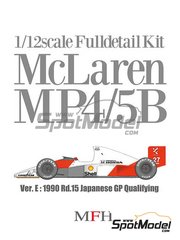 Model Factory Hiro: Model car kit 1/12 scale - McLaren Honda MP4/5B Marlboro #27, 28 - Ayrton Senna (BR), Gerhard Berger (AT) - Japan Grand Prix 1990 - photo-etched parts, resin parts, rubber parts, seatbelt fabric, turned metal parts, vacuum formed parts, water slide decals, white metal parts, other materials and assembly instructions