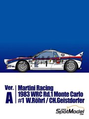 Model Factory Hiro: Model car kit 1/43 scale - Lancia 037 Rally Martini Racing Team #1 - Walter Röhrl (DE) + Christian Geistdörfer (DE) - Montecarlo Rally 1983 - metal parts, photo-etched parts, rubber parts, turned metal parts, vacuum formed parts, water slide decals, white metal parts and assembly instructions