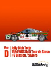 Model Factory Hiro: Model car kit 1/43 scale - Lancia 037 Rally Jolly Club Totip #9 - Massimo 'Miki' Biasion (IT) + Tiziano Siviero (IT) - Tour de Corse 1984 - photo-etched parts, rubber parts, turned metal parts, vacuum formed parts, water slide decals, white metal parts and assembly instructions