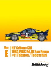 Model Factory Hiro: Model car kit 1/43 scale - Lancia 037 Rally H.F. Grifone SRL #11 - Fabrizio Tabaton (IT) + Luciano Tedeschini (IT) - Sanremo Rally 1984 - photo-etched parts, rubber parts, turned metal parts, vacuum formed parts, water slide decals, white metal parts and assembly instructions