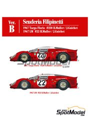 Model Factory Hiro: Model car kit 1/12 scale - Ferrari 412P Scuderia Filipinetti #220, 22 - Herbert Müller (CH) + Jean Guichet (FR) - 24 Hours Le Mans, Targa Florio 1967 - photo-etched parts, resin parts, rubber parts, seatbelt fabric, turned metal parts, vacuum formed parts, water slide decals, white metal parts, other materials and assembly instructions