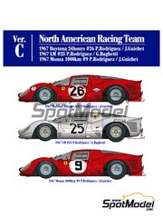Model Factory Hiro: Model car kit 1/12 scale - Ferrari 412P North American Racing Team #9, 25, 26 1967