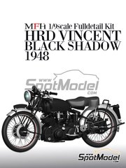 Model Factory Hiro: Model bike kit 1/9 scale - Vincent Black Shadow 1948 - photo-etched parts, resin parts, rubber parts, turned metal parts, water slide decals, white metal parts, other materials and assembly instructions image