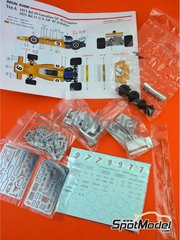 Model Factory Hiro: Model car kit 1/43 scale - McLaren Ford M19A Yardley #7, 9 - Denis Clive 'Denny' Hulme (NZ) - Canadian Formula 1 Grand Prix, USA Formula 1 Grand Prix 1971 - photo-etched parts, rubber parts, seatbelt fabric, turned metal parts, vacuum formed parts, water slide decals, white metal parts and assembly instructions image