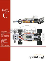 Model Factory Hiro: Model car kit 1/43 scale - McLaren Ford M19A Yardley #9, 10, 12, 14 - Denis Clive 'Denny' Hulme (NZ), Peter Revson (US) - Belgian Grand Prix, South African Grand Prix 1972 - photo-etched parts, rubber parts, turned metal parts, vacuum formed parts, water slide decals, white metal parts and assembly instructions image