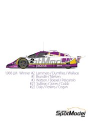 Model Factory Hiro: Model car kit 1/43 scale - Jaguar XJR-9 LM Silk Cut #1, 2, 3, 21, 22 - Jan Lammers (NL) + Johnny Dumfries (GB) + Andy Wallace (GB), Martin Brundle (GB) + John Nielsen (DK), John Watson (GB) + Raul Boesel (BR) + Henri Pescarolo (FR), Danny Sullivan (US) + Alan Jones (AU) + Price Cobb (US), Derek Daly (IE) + Kevin Cogan (US) - 24 Hours Le Mans 1988 - photo-etched parts, rubber parts, vacuum formed parts, water slide decals, white metal parts and assembly instructions
