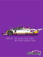 Model Factory Hiro: Model car kit 1/43 scale - Jaguar XJR-9 LM Silk Cut #3, 4 - Alan Jones (AU) + Derek Daly (IE), Alain Ferté (FR) + Eliseo Salazar (CL) - 24 Hours Le Mans 1989 - metal parts, photo-etched parts, rubber parts, vacuum formed parts, water slide decals, white metal parts, assembly instructions and painting instructions image
