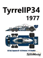 Model Factory Hiro: Model kit 1/12 scale - Tyrrell Ford P34 ELF #3, 4 - Ronnie Peterson (SE), Patrick Depailler (FR) - Canadian Grand Prix, USA Grand Prix 1977 - photo-etched parts, resin parts, rubber parts, seatbelt fabric, turned metal parts, vacuum formed parts, water slide decals, white metal parts, other materials and assembly instructions