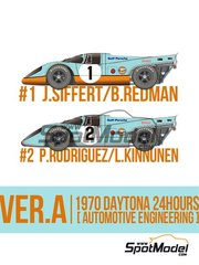Model Factory Hiro: Model car kit 1/43 scale - Porsche 917K Gulf Automotive Engineering #1, 2 - Joseph 'Jo' Siffert (CH) + Brian Redman (GB), Pedro Rodriguez (MX) + Leo Kinnunen (FI) - 24 Hours Daytona 1970 - photo-etched parts, resin parts, rubber parts, turned metal parts, vacuum formed parts, water slide decals, white metal parts, other materials and assembly instructions image