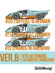 Model Factory Hiro: Model car kit 1/43 scale - Porsche 917K Gulf Automotive Engineering #20, 21, 22 - Joseph 'Jo' Siffert (CH) + Brian Redman (GB), Pedro Rodriguez (MX) + Leo Kinnunen (FI), David Hobbs (GB) + Mike Hailwood (GB) - 24 Hours Le Mans 1970 - photo-etched parts, resin parts, rubber parts, turned metal parts, vacuum formed parts, water slide decals, white metal parts, other materials and assembly instructions image