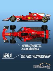 Model Factory Hiro: Model car kit 1/12 scale - Ferrari SF70H #5, 7 - Sebastian Vettel (DE), Kimi Räikkönen (FI) - Australian Grand Prix 2017 - metal parts, photo-etched parts, resin parts, rubber parts, seatbelt fabric, turned metal parts, water slide decals, white metal parts, other materials and assembly instructions