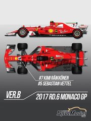 Model Factory Hiro: Model car kit 1/12 scale - Ferrari SF70H #5, 7 - Sebastian Vettel (DE), Kimi Räikkönen (FI) - Monaco Formula 1 Grand Prix 2017 - metal parts, photo-etched parts, resin parts, rubber parts, seatbelt fabric, turned metal parts, water slide decals, white metal parts, other materials and assembly instructions
