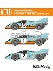 Model Factory Hiro: Model car kit 1/12 scale - Porsche 917K Gulf Automotive Engineering #1, 2, 19 - Richard Attwood (GB) + Herbert Müller (CH), Joseph 'Jo' Siffert (CH) + Derek Bell (GB), Pedro Rodriguez (MX) + Jackie Oliver (GB) - 1000 Kms Monza, 24 Hours Le Mans 1971 - photo-etched parts, resin parts, rubber parts, vacuum formed parts, water slide decals, white metal parts and assembly instructions