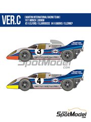 Model Factory Hiro: Model car kit 1/12 scale - Porsche 917K Martini Racing Team #3, 4 - Vic Elford (GB) + Gérard Larrousse (FR), Helmut Marko (AT) + Gijs van Lennep (NL) - 1000 Kms Monza 1971 - photo-etched parts, resin parts, rubber parts, vacuum formed parts, water slide decals, white metal parts and assembly instructions