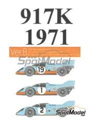 Model Factory Hiro: Maqueta de coche escala 1/43 - Porsche 917K Gulf John Wyer Automotive Engineering Nº 1, 2, 19 - Richard Attwood (GB) + Herbert Müller (CH), Joseph 'Jo' Siffert (CH) + Pedro Rodriguez (MX) + Jackie Oliver (GB) - 1000 kilómetros de Monza, 24 Horas de Le Mans 1971 - piezas impresas en 3D, fotograbados, piezas de goma, piezas vacuformadas, calcas de agua, piezas de metal blanco, manual de instrucciones e instrucciones de pintado