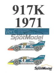 Model Factory Hiro: Model car kit 1/43 scale - Porsche 917K Martini International Racing Team #3, 4 - Vic Elford (GB) + Gérard Larrousse (FR), Helmut Marko (AT) + Gijs van Lennep (NL) - 1000 Kms Monza 1971 - 3D printed parts, photo-etched parts, rubber parts, vacuum formed parts, water slide decals, white metal parts, assembly instructions and painting instructions