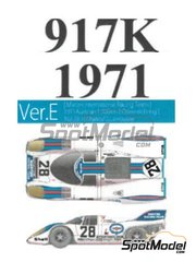 Model Factory Hiro: Model car kit 1/43 scale - Porsche 917K Martini International Racing Team #28 - Helmut Marko (AT) + Gérard Larrousse (FR) - 1000km Austrian Österreichring 1971 - 3D printed parts, photo-etched parts, rubber parts, vacuum formed parts, water slide decals, white metal parts, assembly instructions and painting instructions