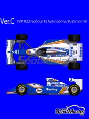 Model Factory Hiro: Model car kit 1/43 scale - Williams Renault FW16 Rothmans #0, 2 - Damon Hill (GB), Ayrton Senna (BR) - Pacific Formula 1 Grand Prix 1994 - photo-etched parts, rubber parts, turned metal parts, water slide decals, white metal parts, assembly instructions and painting instructions image